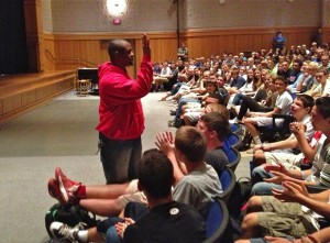 Laymon Hicks speaks to students in the Stephen J. Buck Theater (Photo:  Mary Schwande