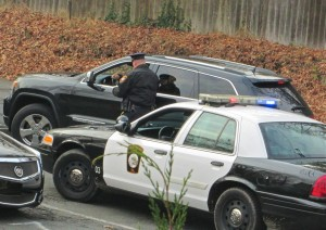 Traffic stop by New Hope police officer Dec. 2 (Photo: Charlie Sahner)