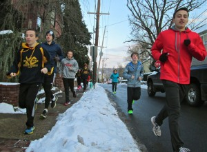 New Hope-Solebury Winter Track & Field Team in training (Photo: Charlie Sahner)