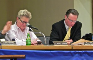 New Hope Borough Council President Claire Shaw and Solicitor T. J. Walsh during Feb. 18 meeting (Photo: Charlie Sahner)