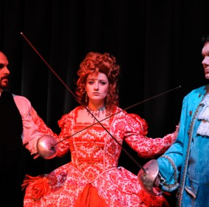 (L to R) Micheal Schuimo as Chauvelin; Roseann Enwright as Marguerite St. Just; and Kevin Palardy as Sir Percy Blakeney