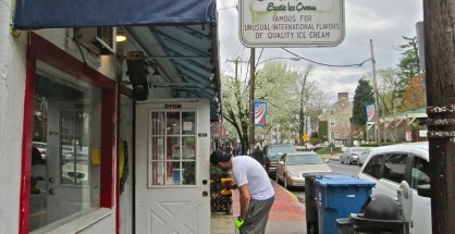 Locks being changed at former Gerenser's Exotic Ice Cream in New Hope (Photo: Charlie Sahner)