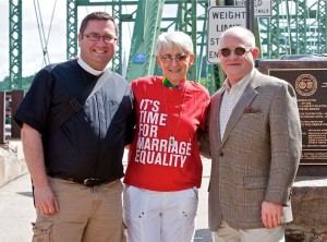 (L to R) Rev. Michael Ruk of St. Philip's Episcopal Church, New Hope Councilwoman Geri Delevich and Ted Martin, head of Equality PA (Photo: S. Casano)