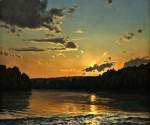 Artist Paul Matthew's painting, 'Sunset on the Delaware above Stockton.'