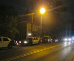 Police units line South Main Street Saturday night