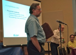 Chamber Treasurer Grover Stults' stare proved ineffective in silencing an outburst from Bryan Montgomery (not pictured)