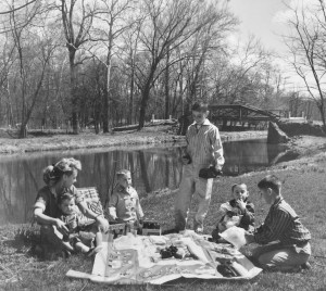 Jane and sons (from left) Timmy, Jimmy, Chip, Mike and Billy in an advertisement on the New Hope Canal promoting local New Hope merchants in 1956.