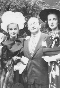 Jane, Monte and Jane's sister Evelyn during the couple's wedding reception at the Logan Inn in 1945.