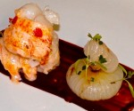 Vanilla Poached Lobster with Cippolini Onion and Port-Chocolate Sauce.