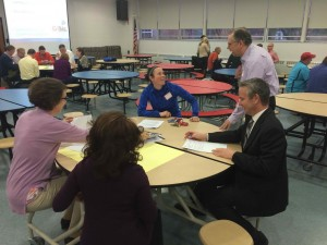 A mix of parents, administrators, teachers and board members discuss in breakout groups at a recent strategic planning meeting