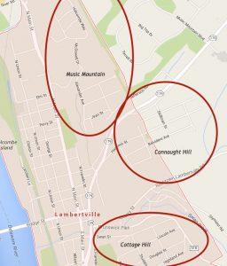 Lambertville's hills (Google Maps Modified Screenshot)