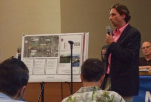 Chris Green from Gilmore & Associates, Inc., details initial concepts for the Town/Canal Interface Improvement Project.