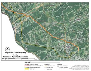 Map showing the old route (yellow & red) and the current route (yellow & black) - (Map by Round Mountain Ecological, LLC for Hopewell Township)