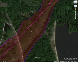 Google Earth 3D rendering, by Mike Spille, of proximity of PennEast pipeline to Swan Creek Reservoir