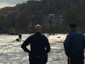 Another photo of the women stranded on the Delaware River Thursday.