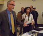 Douglas J. McDonough talks to students after meeting.
