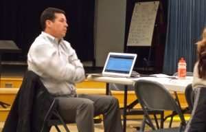 Not amused: School Board President Neale Dougherty at Dec. 13 subcommittee meeting.