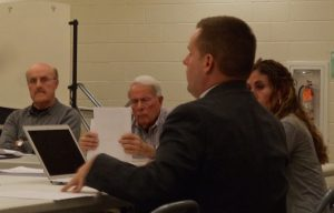 School board sub-committee members (L to R) Cowell and Marcus, Superindent Yanni, and committee chair Deussing.